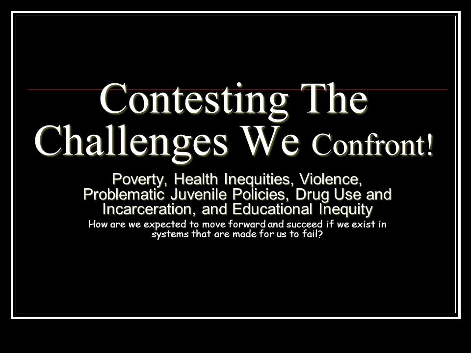 Contesting The Challenges We Confront!
