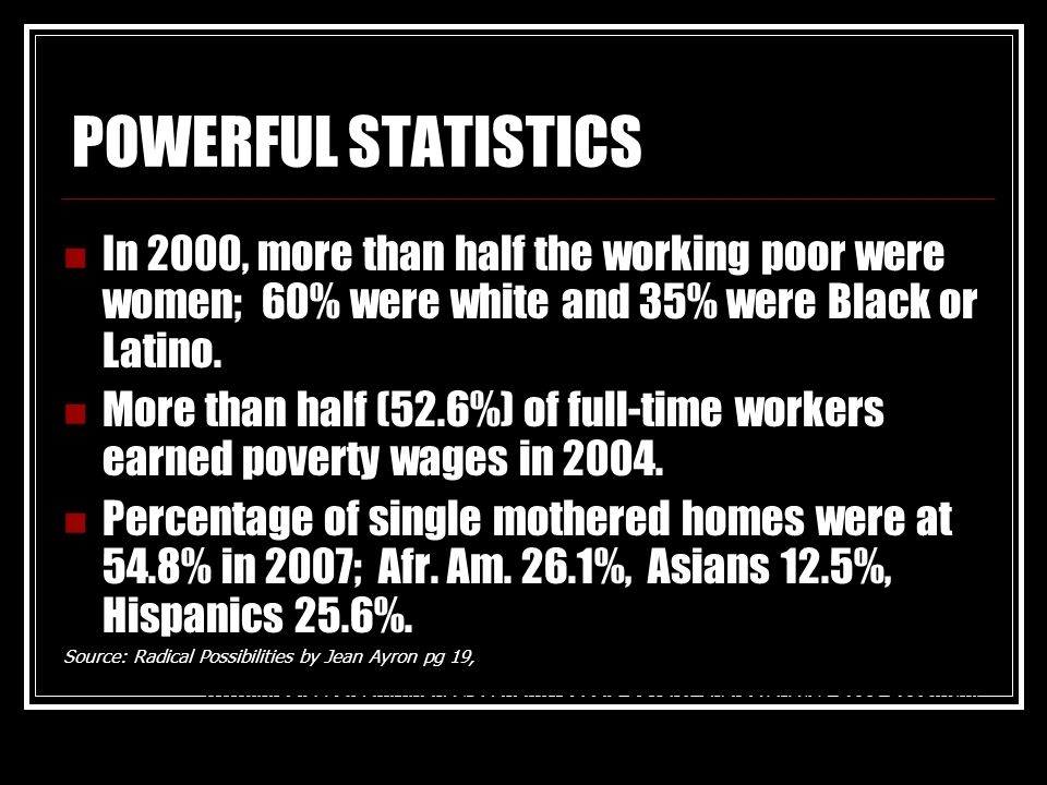 POWERFUL STATISTICSIn 2000, more than half the working poor were women; 60% were white and 35% were Black or Latino.