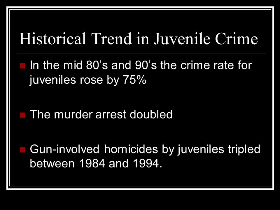 Historical Trend in Juvenile Crime