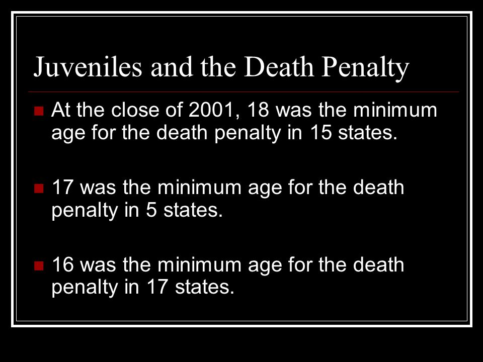 Capital punishment for juveniles in the United States