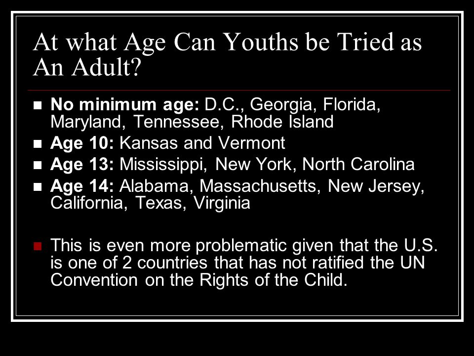 At what Age Can Youths be Tried as An Adult