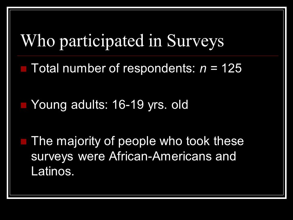 Who participated in Surveys