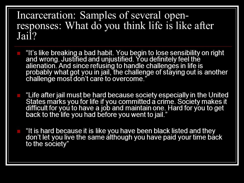 Incarceration: Samples of several open-responses: What do you think life is like after Jail