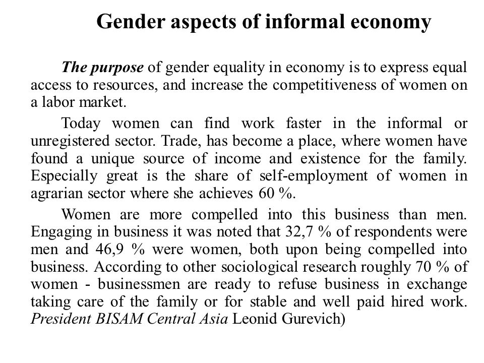 Gender aspects of informal economy