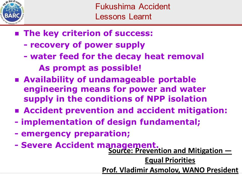 Fukushima Accident Lessons Learnt