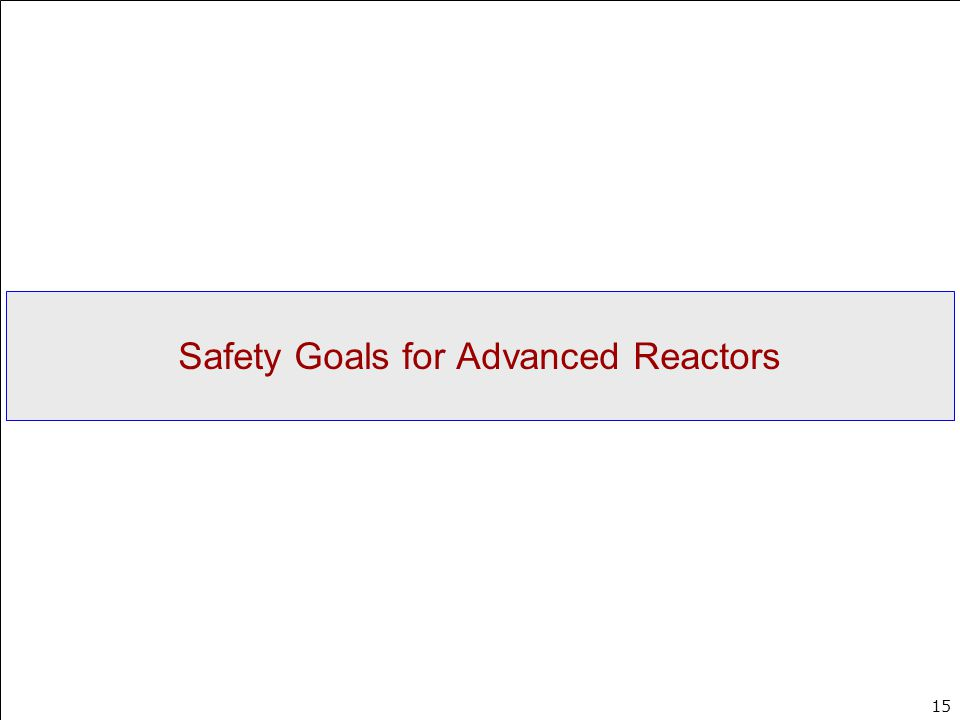 Safety Goals for Advanced Reactors