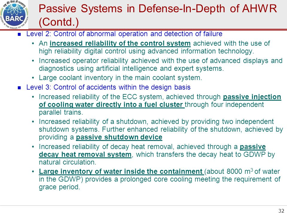 Passive Systems in Defense-In-Depth of AHWR (Contd.)