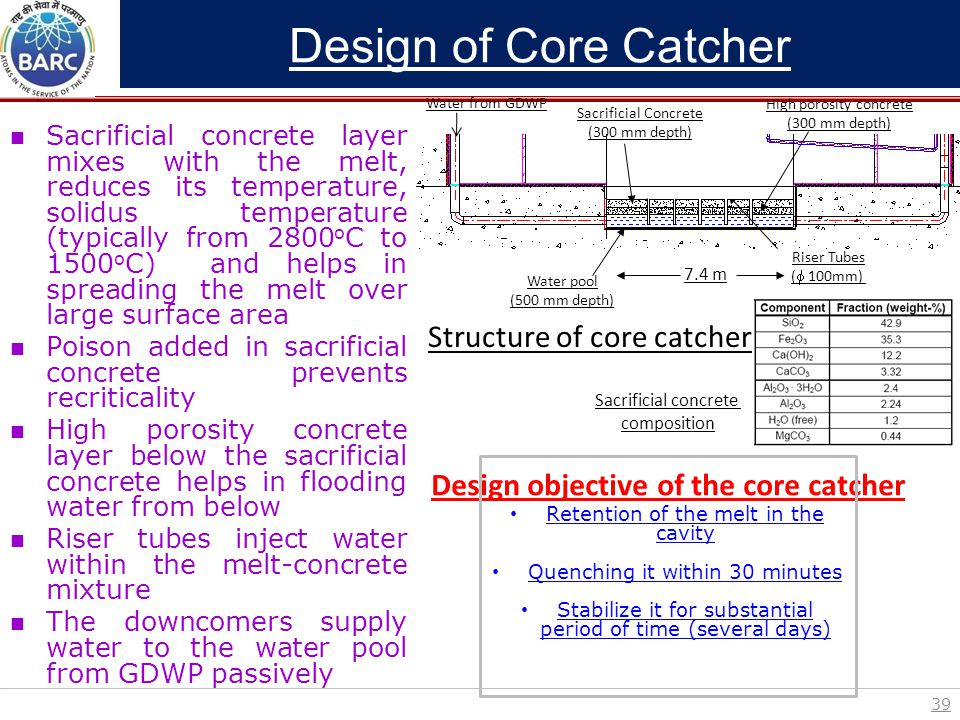 Design objective of the core catcher