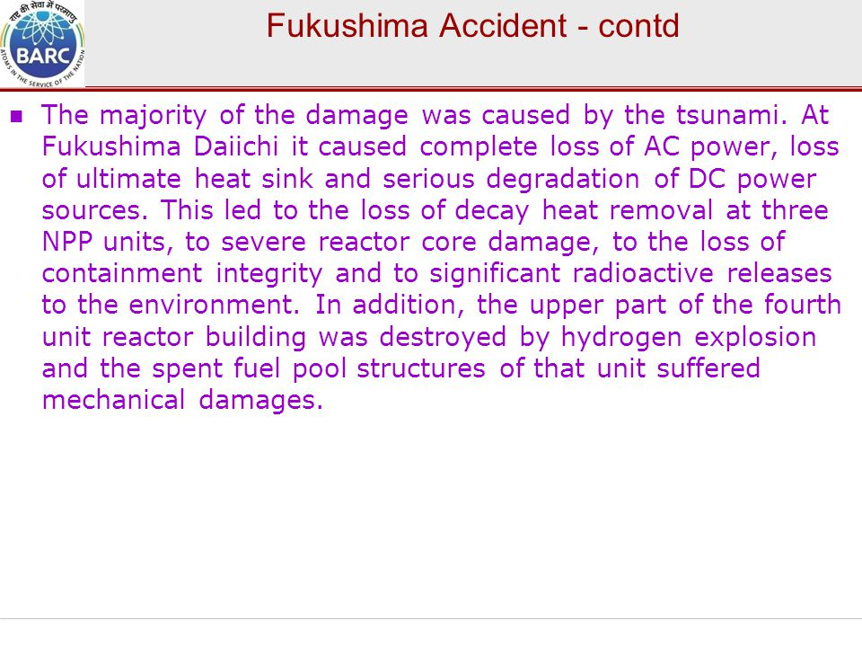 Fukushima Accident - contd