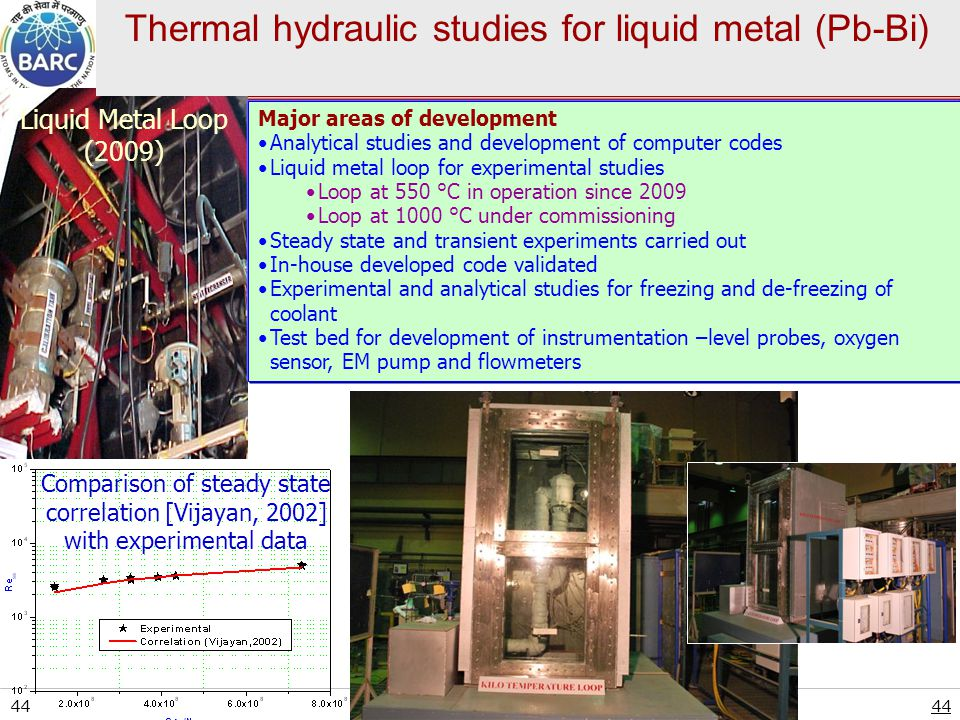 Thermal hydraulic studies for liquid metal (Pb-Bi)