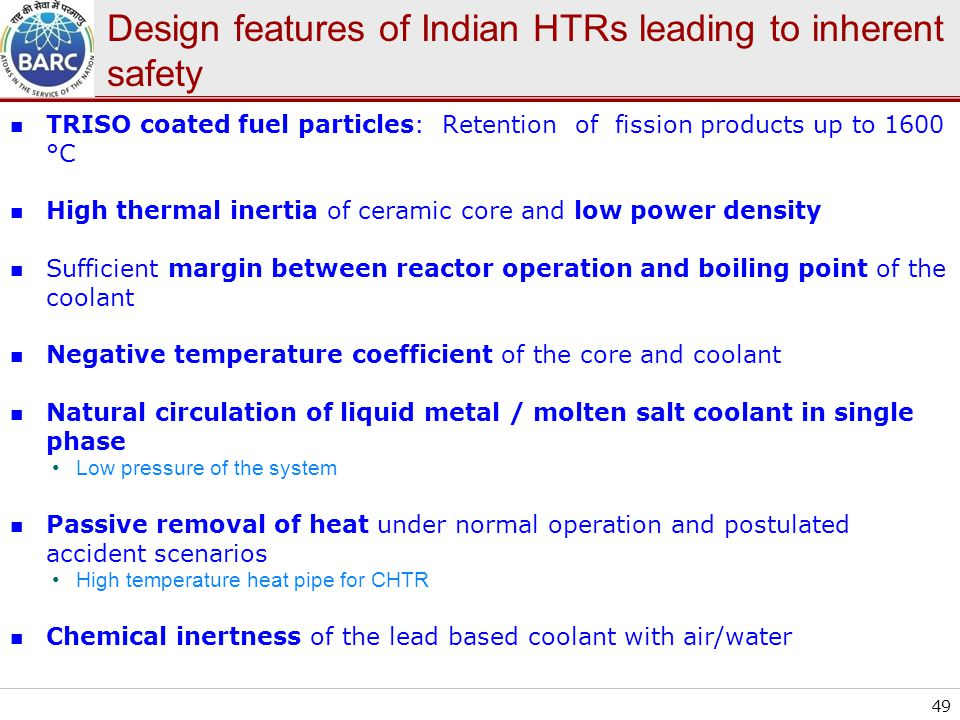 Design features of Indian HTRs leading to inherent safety