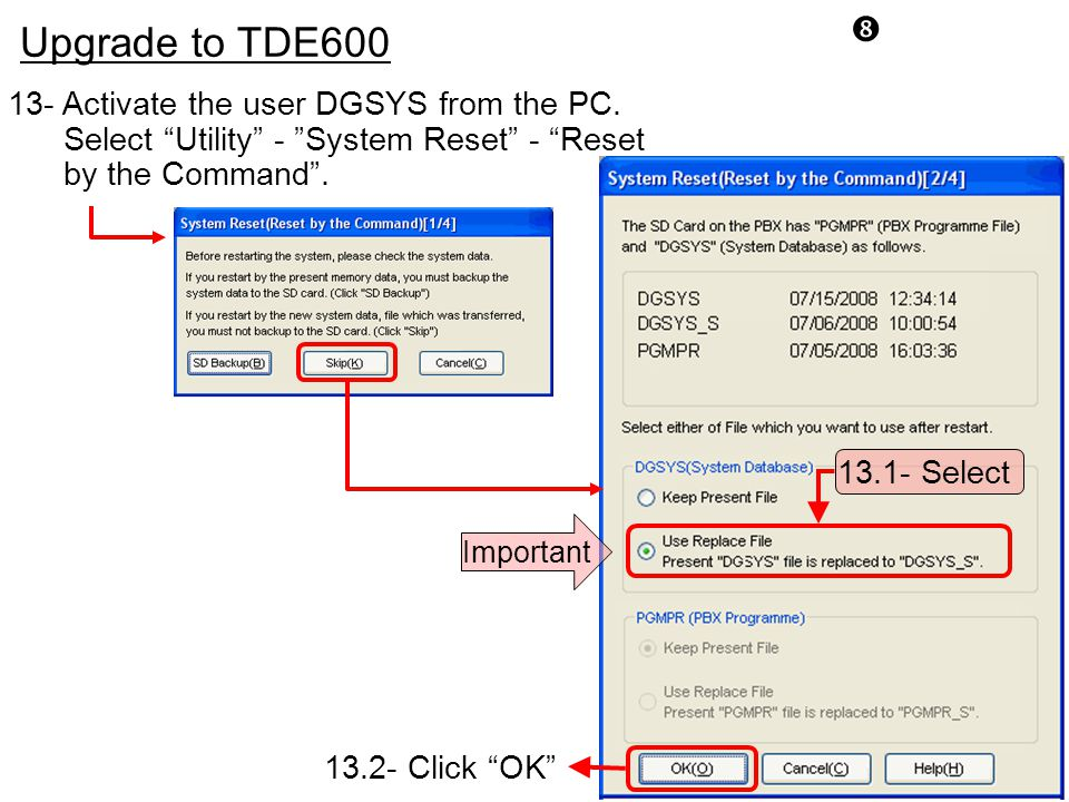 Upgrade to TDE600 13- Activate the user DGSYS from the PC.