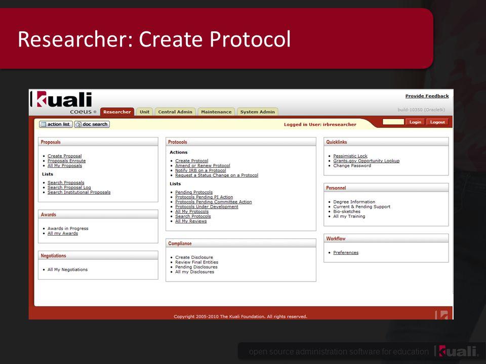 Researcher: Create Protocol