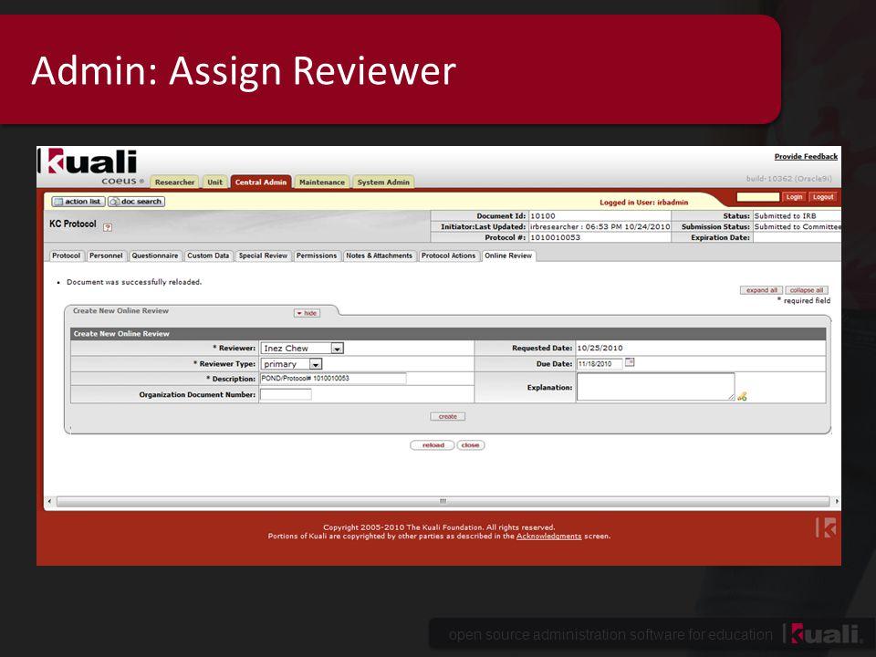 Admin: Assign Reviewer