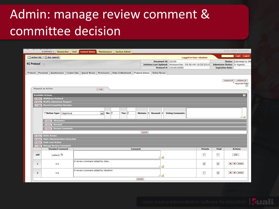 Admin: manage review comment & committee decision