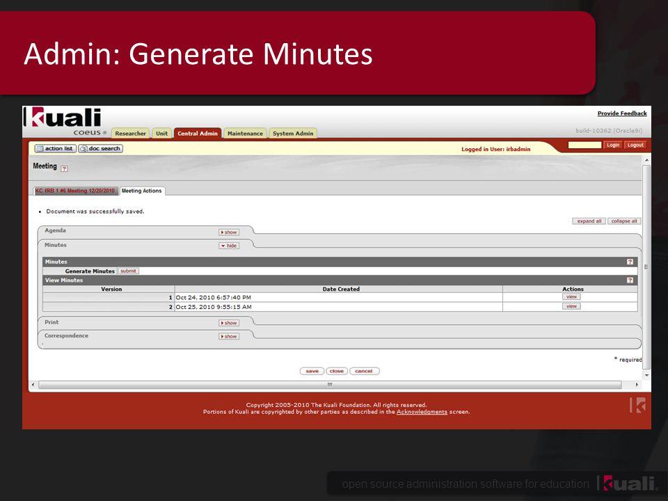 Admin: Generate Minutes