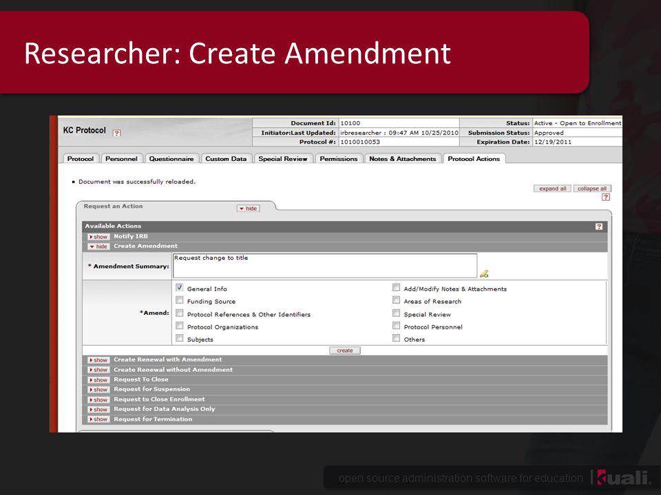 Researcher: Create Amendment
