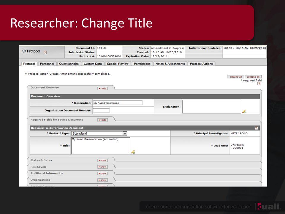 Researcher: Change Title