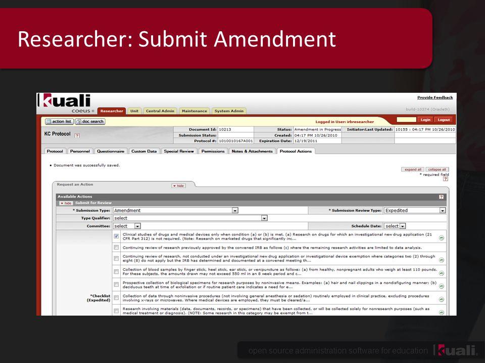 Researcher: Submit Amendment