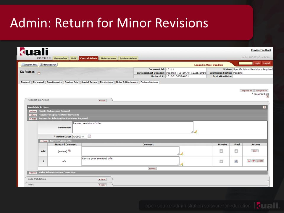 Admin: Return for Minor Revisions