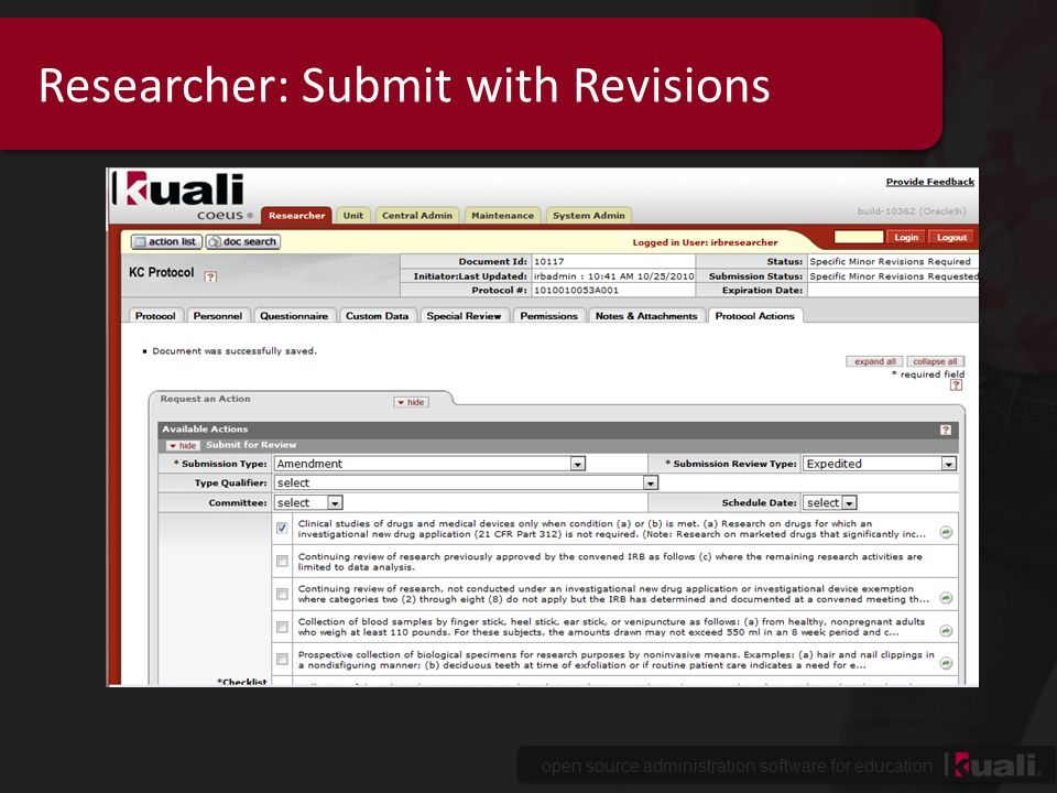 Researcher: Submit with Revisions