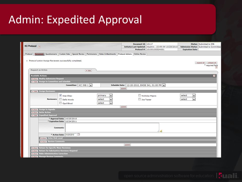 Admin: Expedited Approval