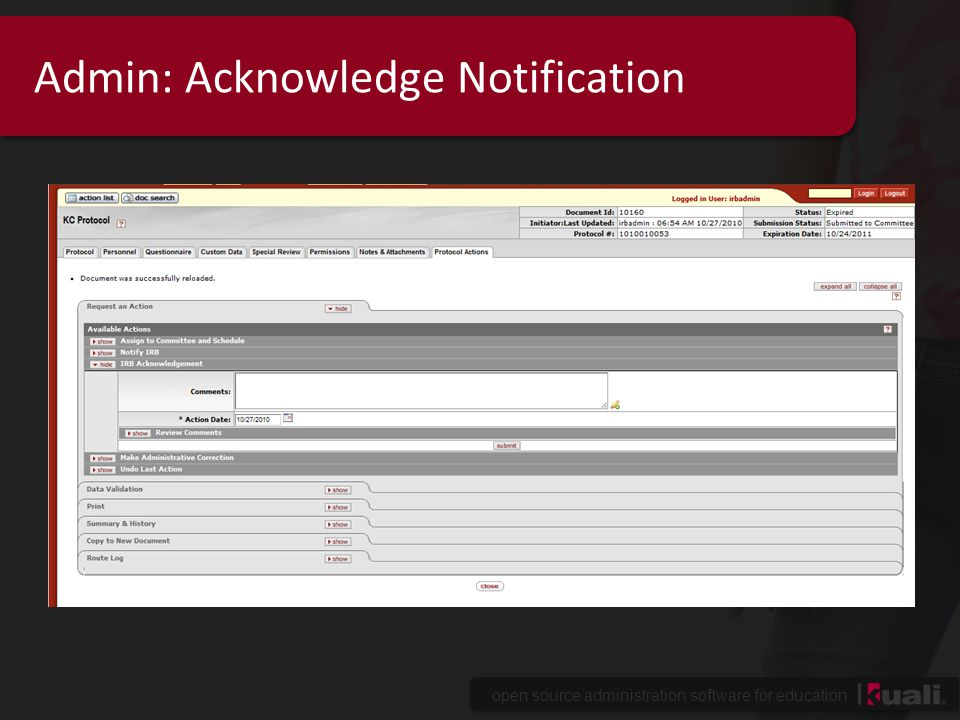 Admin: Acknowledge Notification