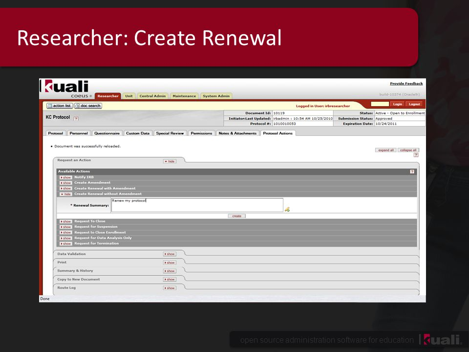 Researcher: Create Renewal