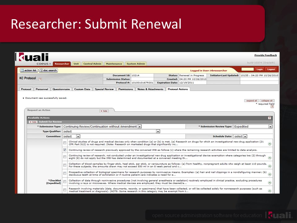 Researcher: Submit Renewal