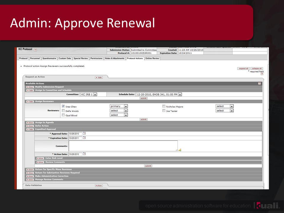 Admin: Approve Renewal