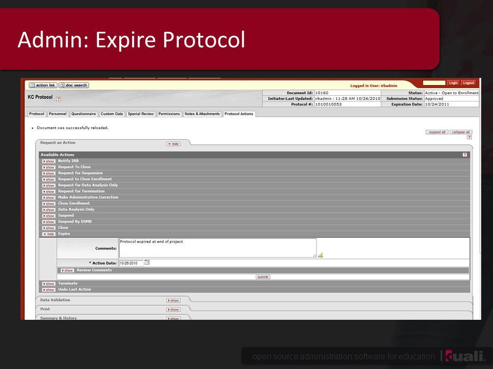 Admin: Expire Protocol