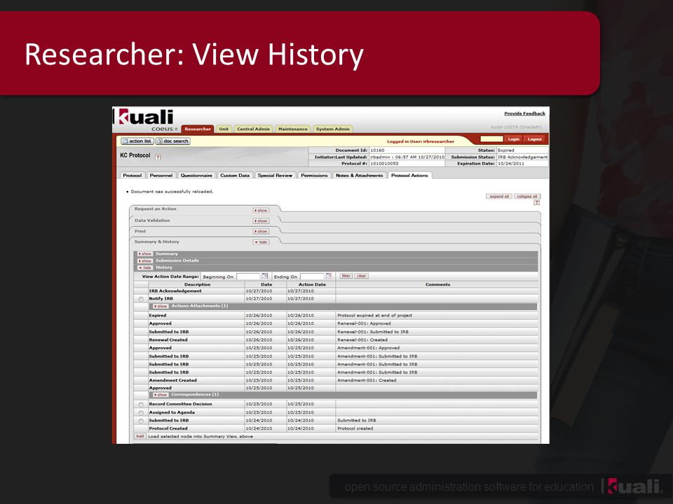 Researcher: View History