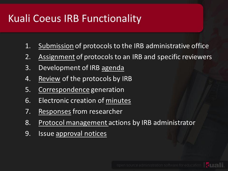 Kuali Coeus IRB Functionality