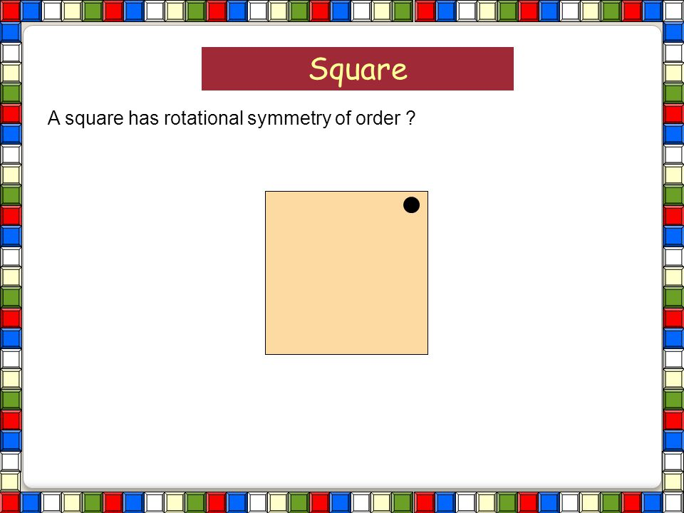 Square A square has rotational symmetry of order