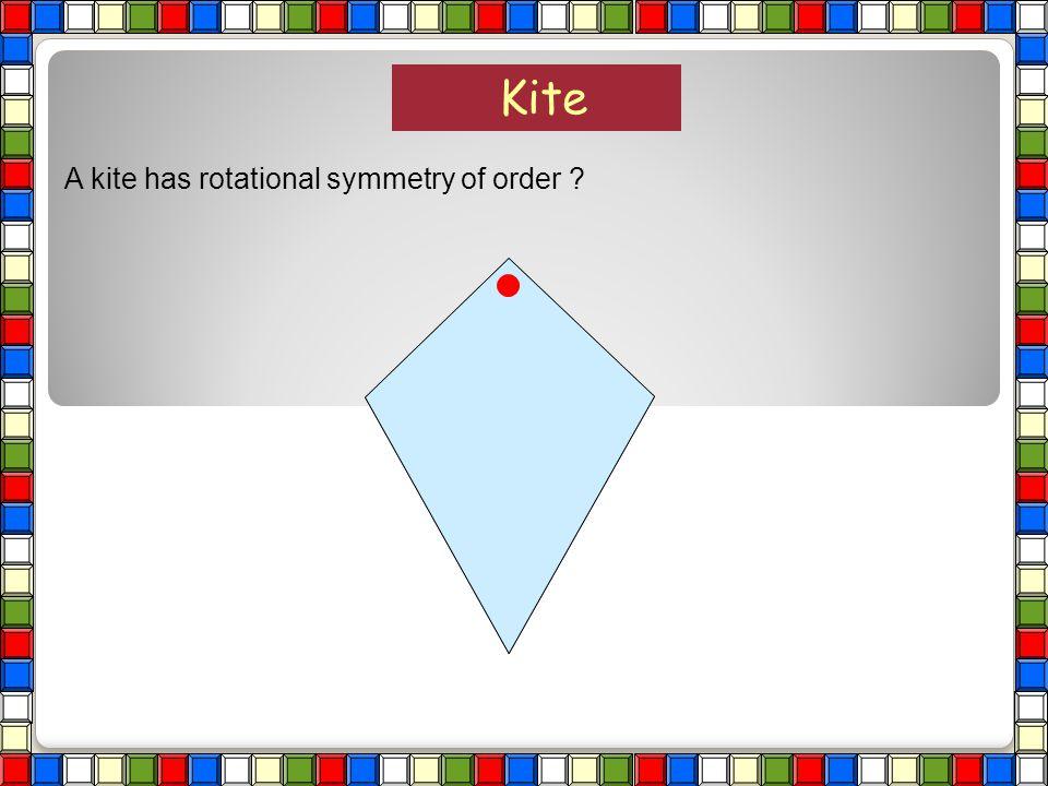 Kite A kite has rotational symmetry of order