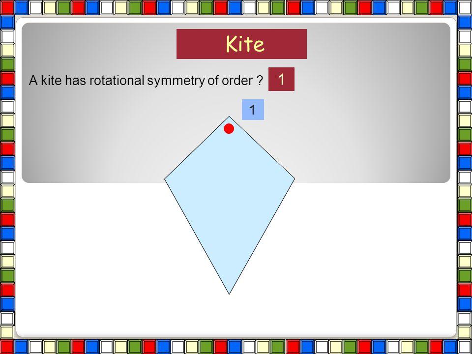 Kite 1 A kite has rotational symmetry of order 1