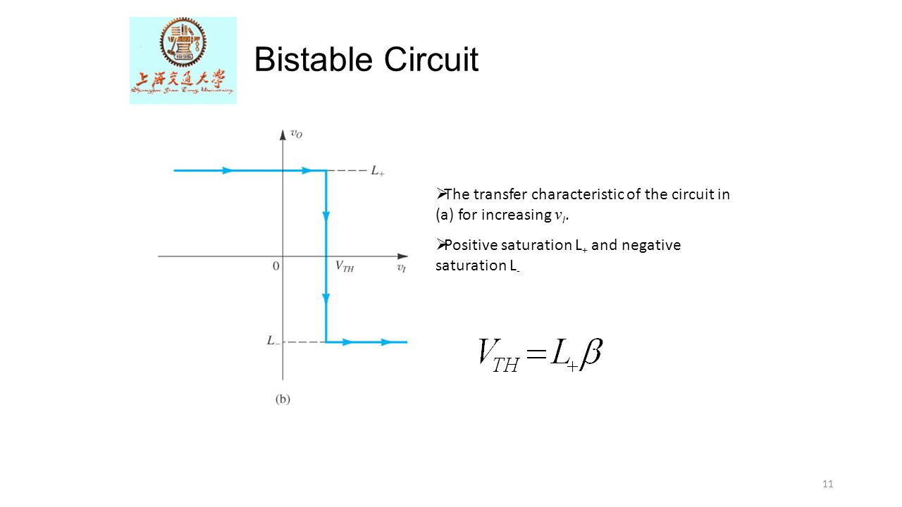 Bistable Circuit The transfer characteristic of the circuit in (a) for increasing vI.