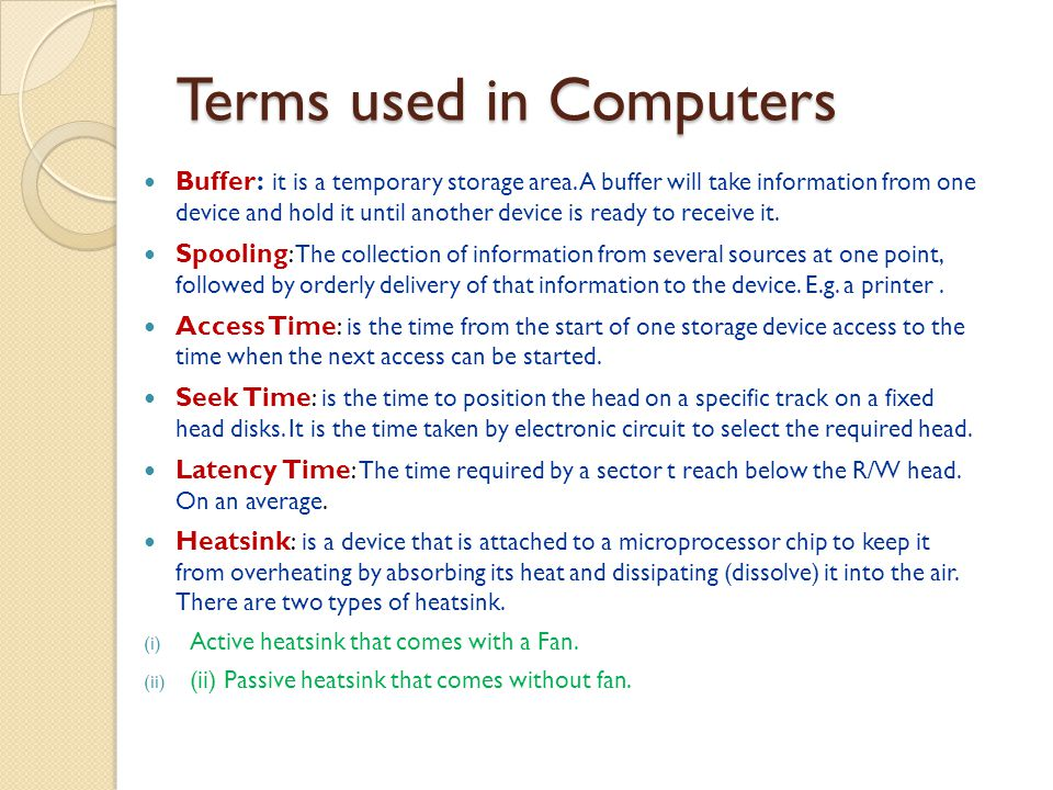 Terms used in Computers