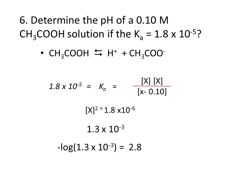 6. Determine the pH of a 0. 10 M CH3COOH solution if the Ka = 1