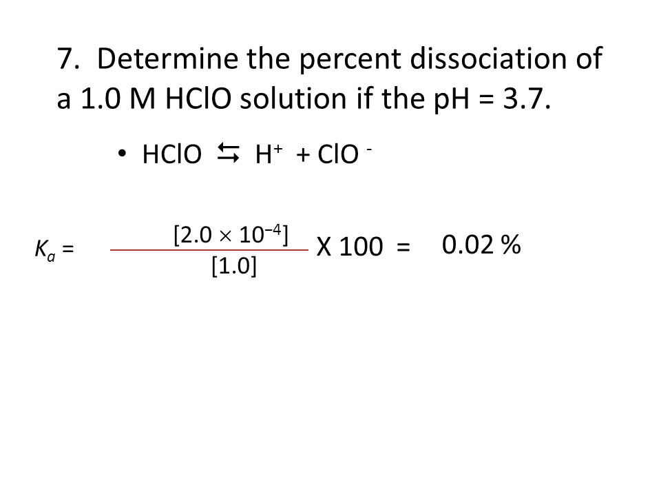 7. Determine the percent dissociation of a 1