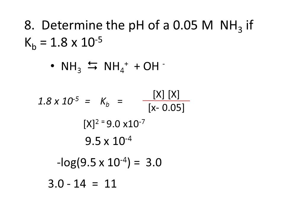 8. Determine the pH of a 0.05 M NH3 if Kb = 1.8 x 10-5