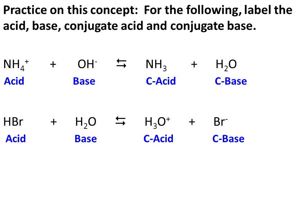 Practice on this concept: For the following, label the acid, base, conjugate acid and conjugate base. NH4+ + OH-  NH3 + H2O HBr + H2O  H3O+ + Br-