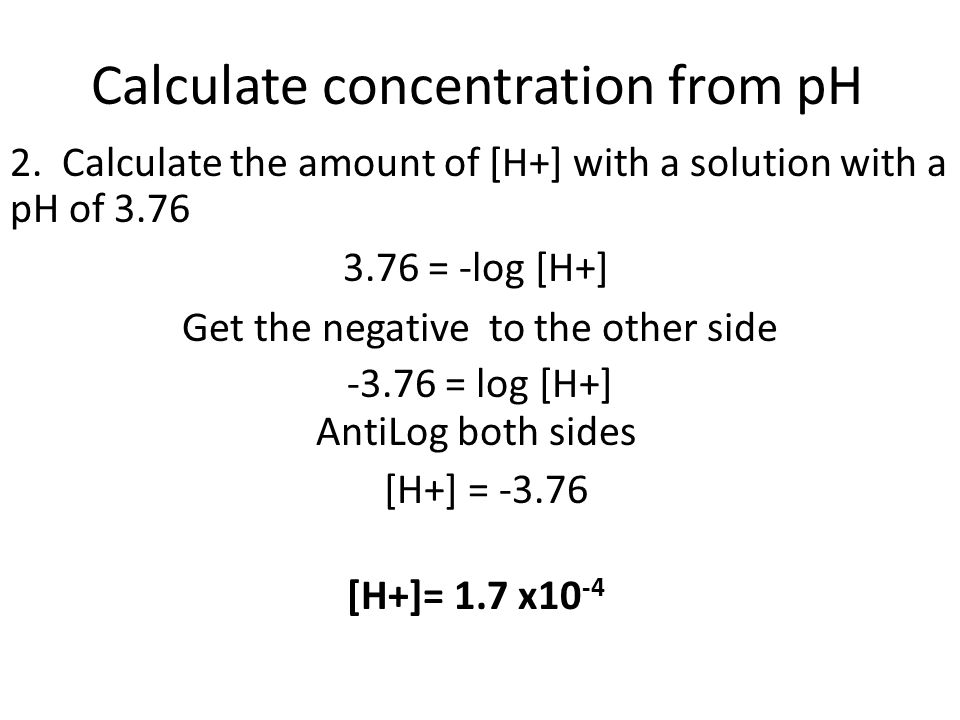 Calculate concentration from pH