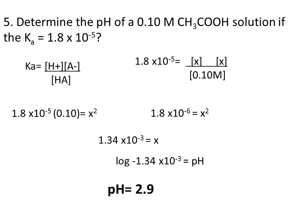 5. Determine the pH of a 0. 10 M CH3COOH solution if the Ka = 1