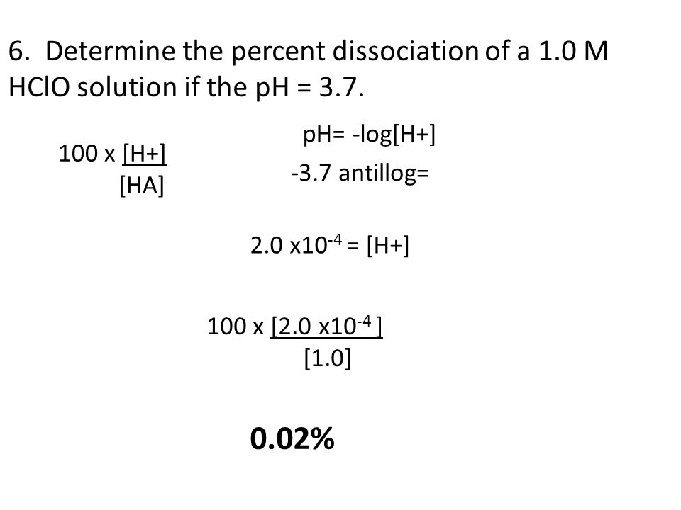 6. Determine the percent dissociation of a 1