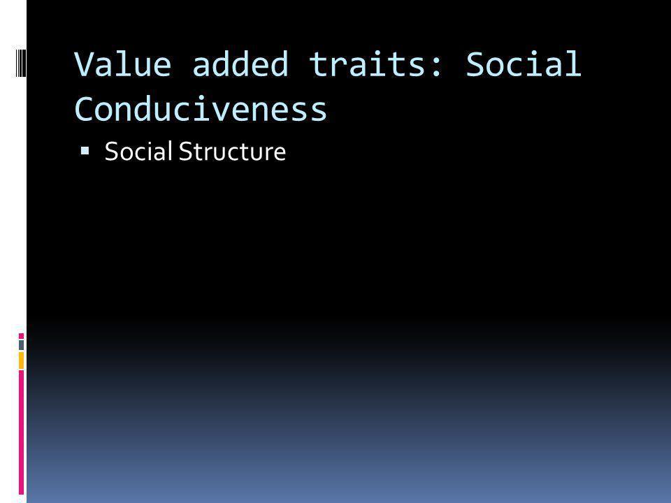 Value added traits: Social Conduciveness
