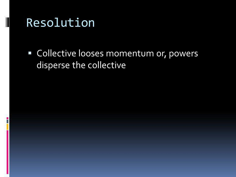 Resolution Collective looses momentum or, powers disperse the collective