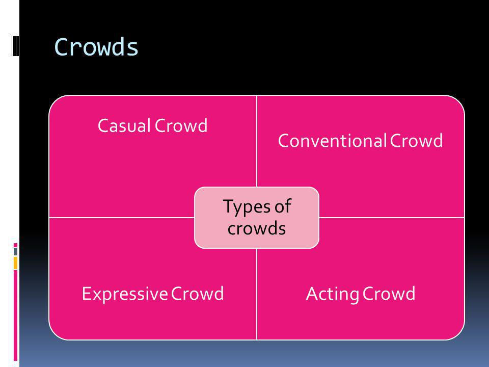 Crowds Types of crowds Casual Crowd Conventional Crowd