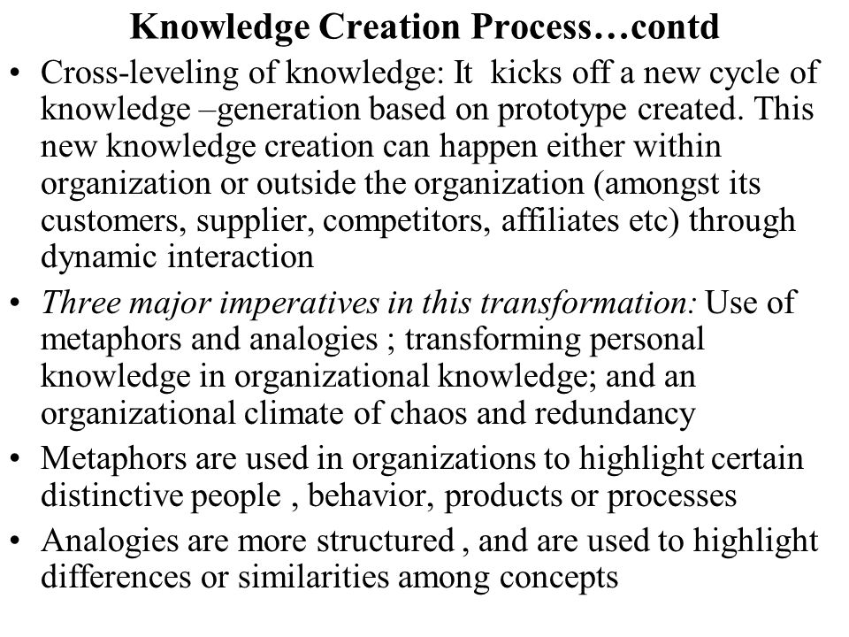 Knowledge Creation Process…contd