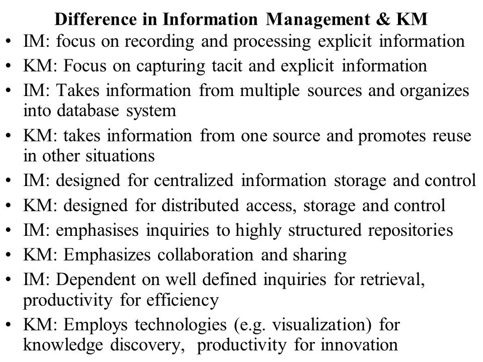 Difference in Information Management & KM